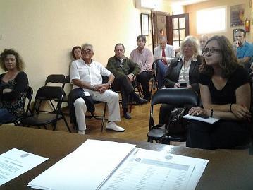 Asistentes a la asamblea para poner en marcha la demarcación territorial del Colegio de Periodistas de Andalucía en Almería.