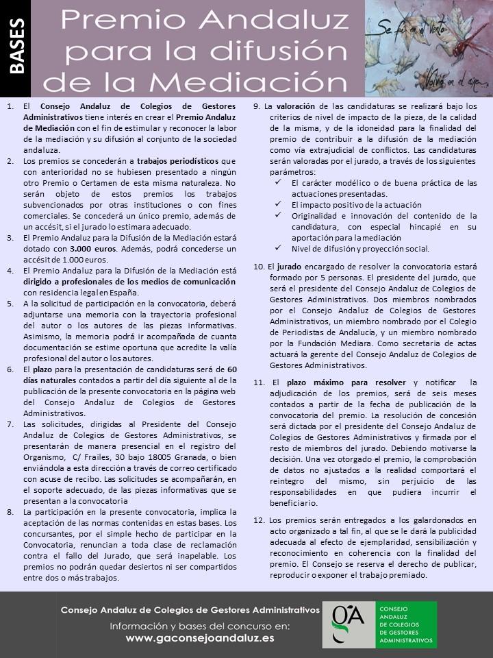 Bases del Premio Andaluz para la Difusión de la Mediación.
