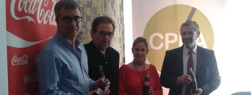 Antonio Manfredi, Beatriz Codes y otros miembros del Colegio de Periodistas de Andalucía.