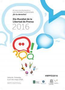Pçoster de la Unesco. 3 de mayo. Día Mundial de la Libertad de Prensa.